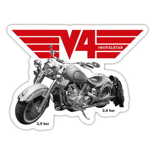 V4 Motorcycles red Wings - Sticker