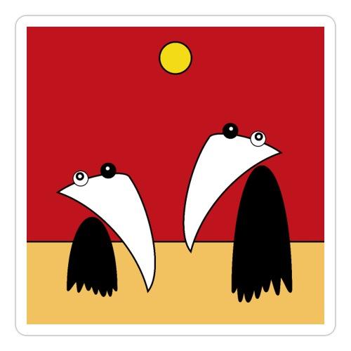 Raving Ravens - in the desert - Sticker