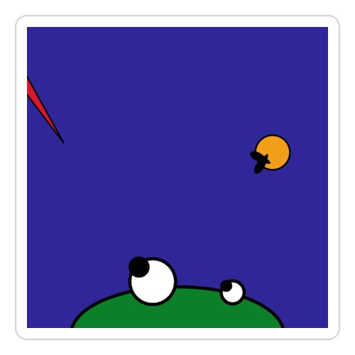 Hungry Frog - stork attack - Sticker