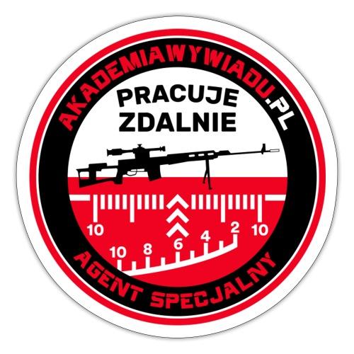 Emblemat Pracuje zdalnie - Akademia Wywiadu™ - Naklejka