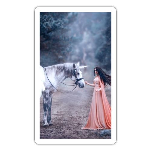 Unicornio con mujer bella - Pegatina