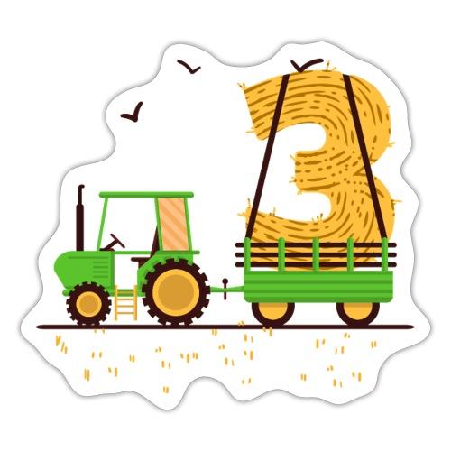 Traktor mit Anhänger 3. Geburtstag Geschenk Drei - Sticker