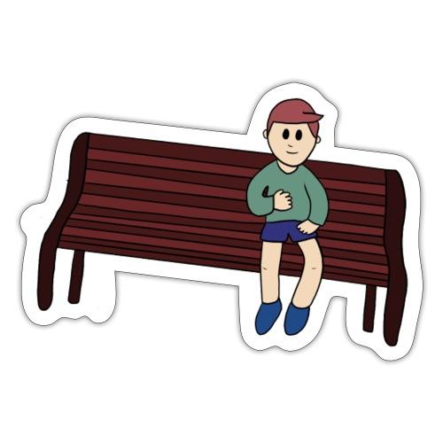 Jongen op bankje - Sticker