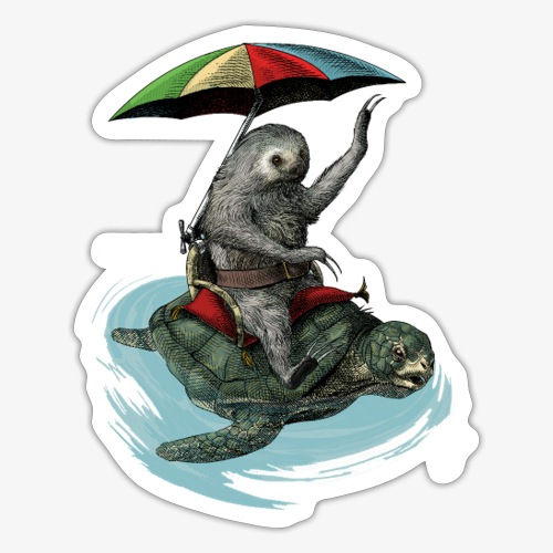 Two toed Sloth riding a turtle - Sticker