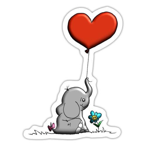 Éléphant, coeur rouge, der Elefant - Autocollant
