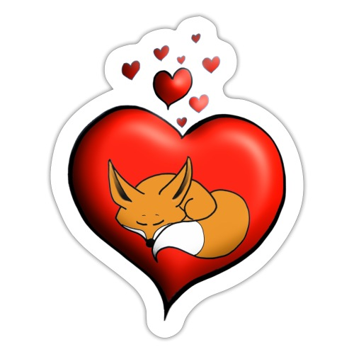Renard Fuchs coeur rouge - Autocollant