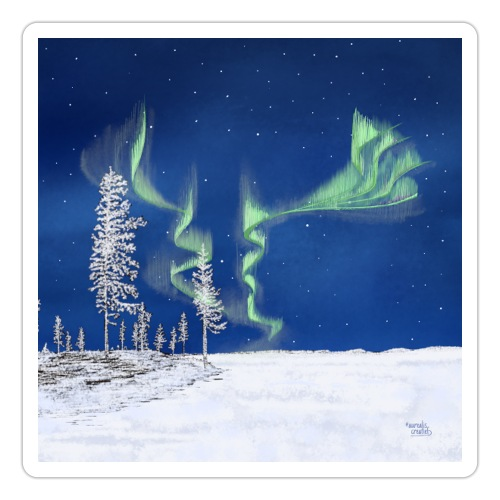 winter met noorderlicht - Autocollant
