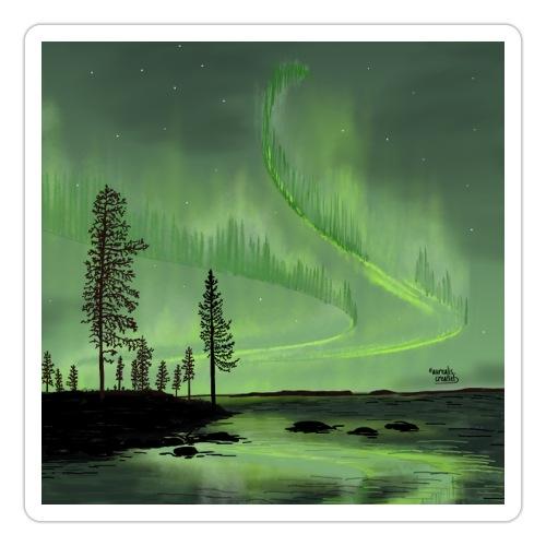 Réflexion des aurores boréales - Autocollant