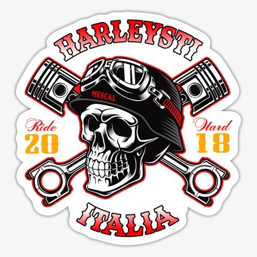 Harleysti Italia - Teschio e pistoni - Ride Hard - Adesivo
