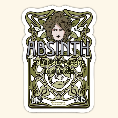 Absinth Your Daily Greens in a Bottle Art Nouveau - Sticker