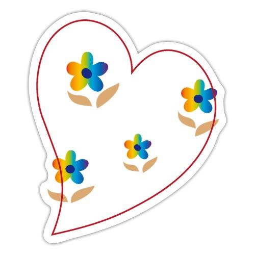 Blumen mit Herz in Regenbogenfarben - Sticker