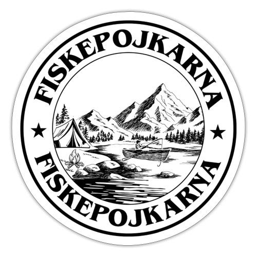 Fiske Pojkarna svart-vit - Klistermärke