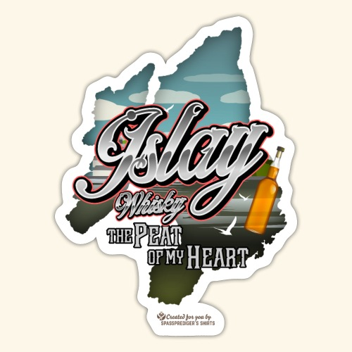 Whisky from Islay Peat of my Heart Tattoo Style - Sticker