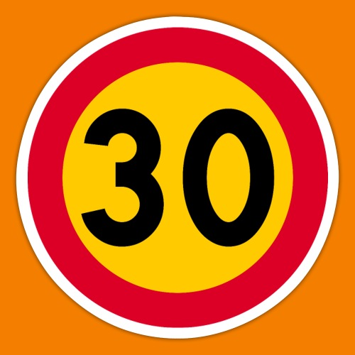 30 skylt - Klistermärke