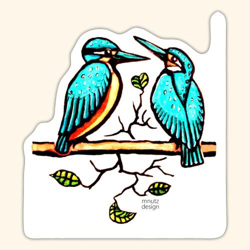 Eisvogel Paar farbe - Sticker