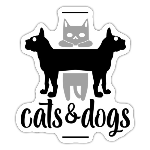 Chats et chiens - Chat et chien - Autocollant