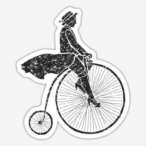 Frau auf Hochrad | Woman on a Penny-Farthing - Sticker