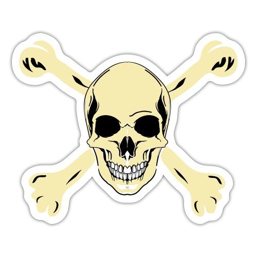 Dödskalle med benknotor - Skull and crossbones - Klistermärke
