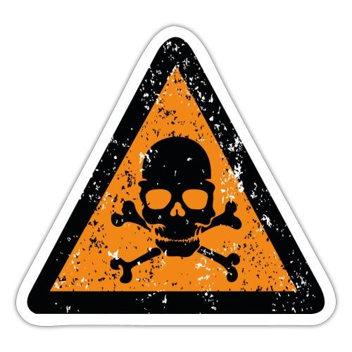 Varningsskylt med dödskalle och benknotor - Klistermärke