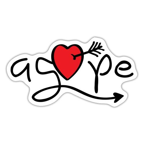Slogan agape. Love, liefdeshart. Valentijnsdag. - Sticker