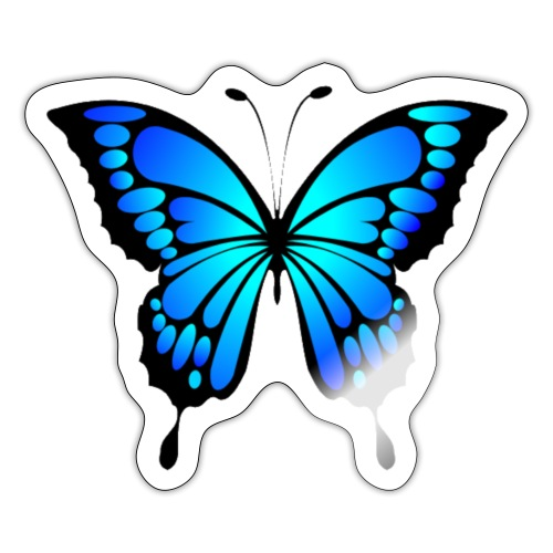 Blå fjäril - Klistermärke