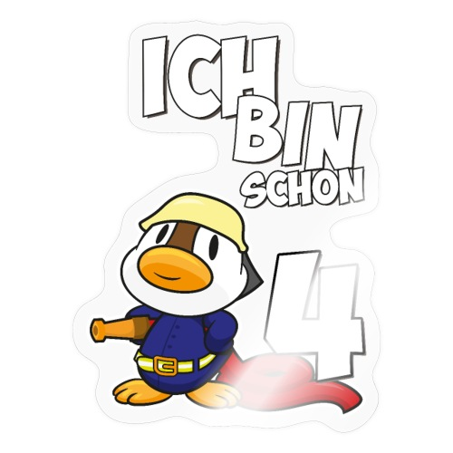 Stolze Feuerwehr Ente 4. Geburtstag Jungen Mädchen - Sticker