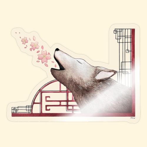 Le chant du loup aux fleurs de cerisier - Autocollant
