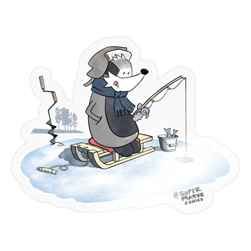Ice Fishing Badger - Klistremerke