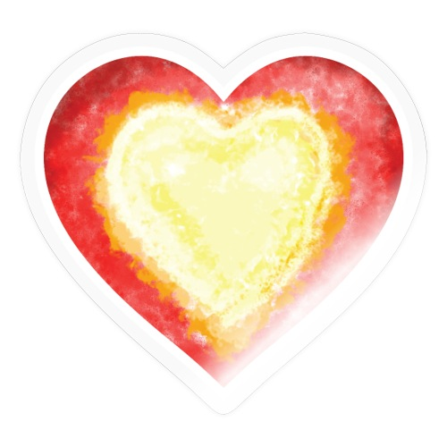 Burning Fire heart - Sticker