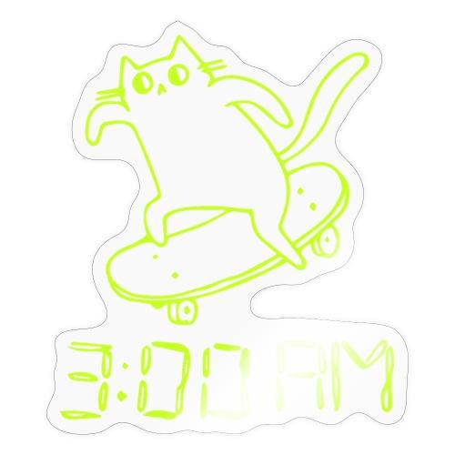 3 AM Cat lime - Sticker