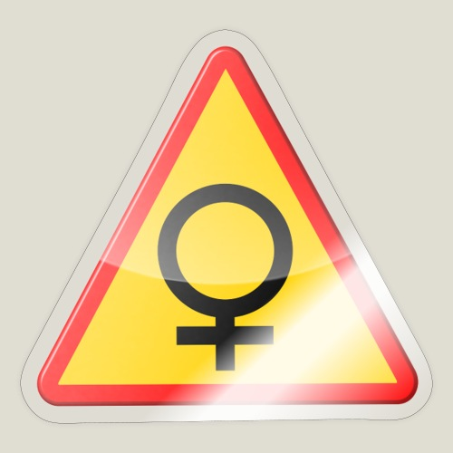 Varning för kvinna! Warning - woman! - Klistermärke