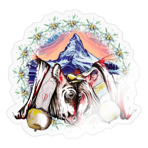 Vache d'hérens avec edelweiss et Zermatt - Autocollant
