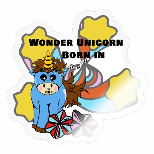 Une merveilleuse licorne est née (pour garcon) - Autocollant