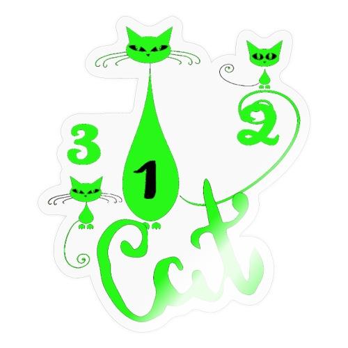 Un deux trois cat, French, funny, cute cat lovers - Autocollant