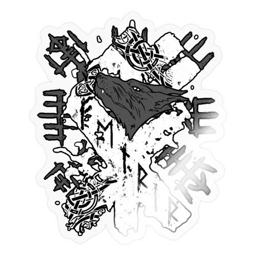 Fenrir Wolf Rune Wolf Kopf Wikinger Vegvisir Rune - Sticker