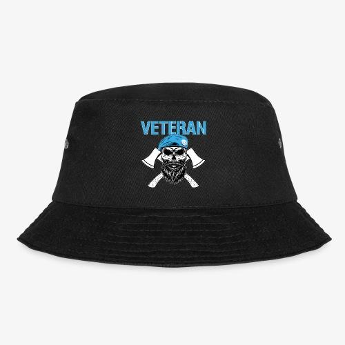 Veteran - Dödskalle med blå basker och yxor - Fiskarhatt