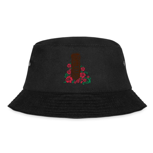 Tiki Totem with Hibiscus Flowers - Bucket Hat