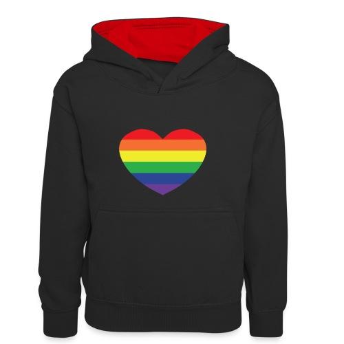 Rainbow heart - Kids' Contrast Hoodie