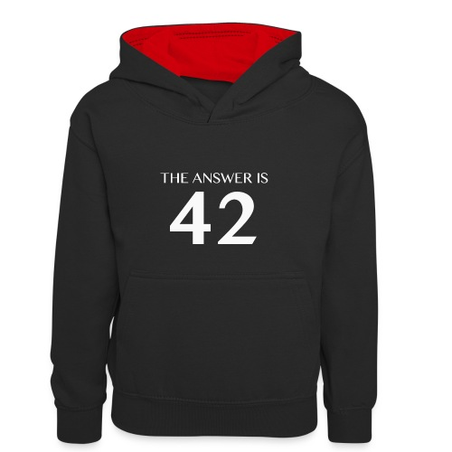 The Answer is 42 White - Kids' Contrast Hoodie