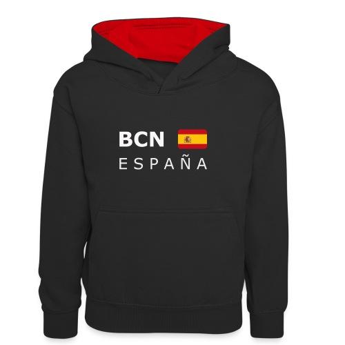 BCN ESPAÑA white-lettered 400 dpi - Kids' Contrast Hoodie