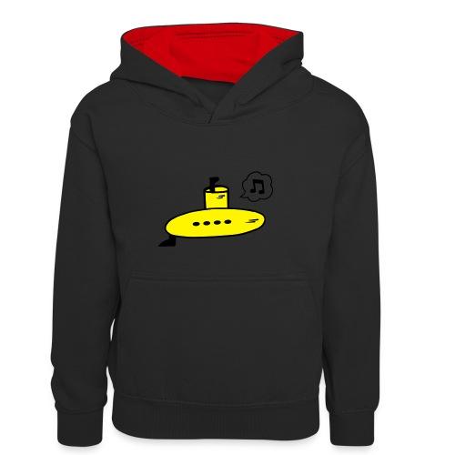 Singing Yellow Submarine - Kids' Contrast Hoodie