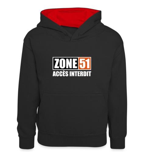 ZONE 51 - ACCES INTERDIT - Sweat à capuche contrasté Enfant