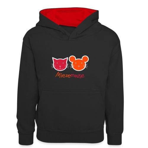 Miezemouse Logo - Kinder Kontrast-Hoodie