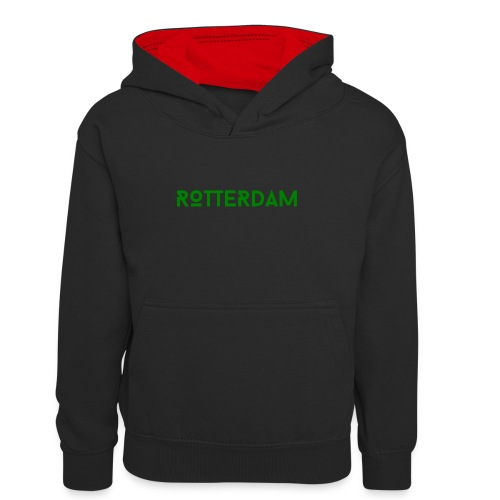 Rotterdam (Groen) - Teenager contrast-hoodie/kinderen contrast-hoodie