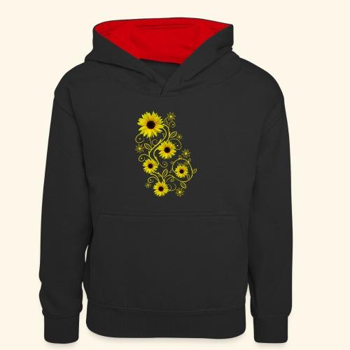 gelbe Sonnenblumen, Ornamente, Sonnenblume, Blumen - Kinder Kontrast-Hoodie