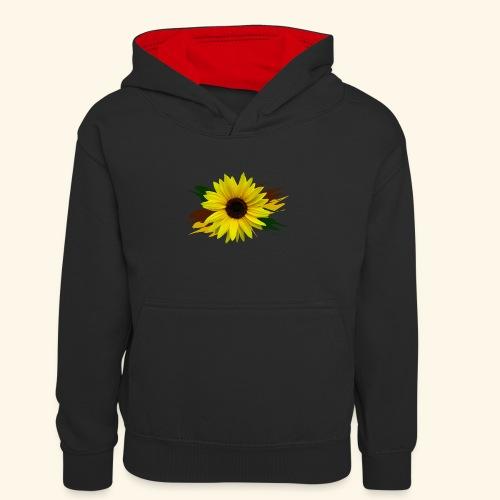 Sonnenblume, Sonnenblumen, Blume, floral, blumig - Kinder Kontrast-Hoodie