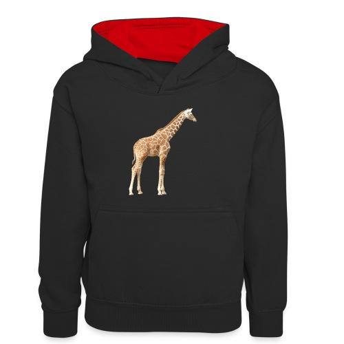 Giraffe - Kinder Kontrast-Hoodie