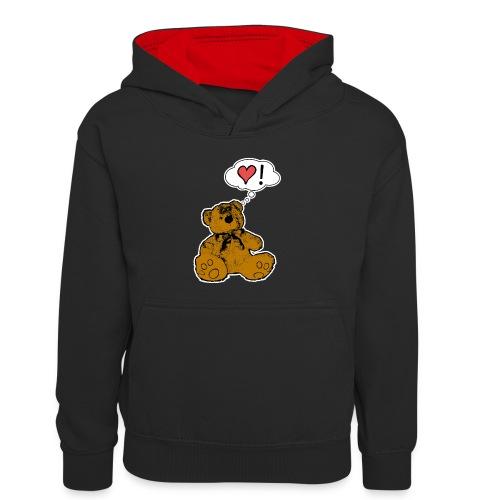 Teddy Bear Love - Felpa con cappuccio in contrasto cromatico per bambini