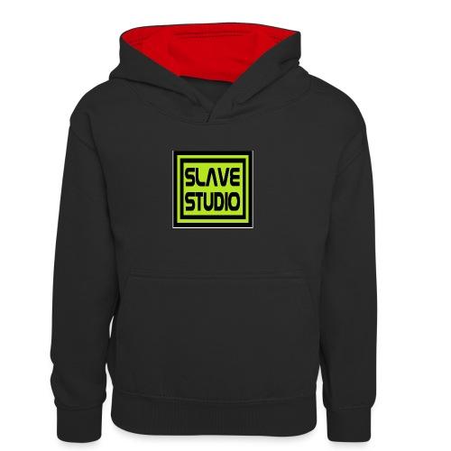 Slave Studio logo - Felpa con cappuccio in contrasto cromatico per bambini