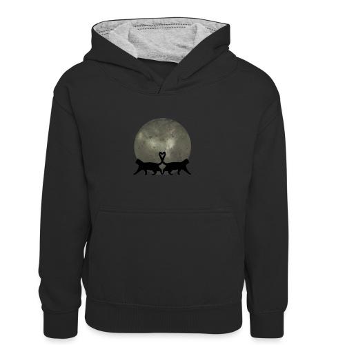Cats in the moonlight - Teenager contrast-hoodie/kinderen contrast-hoodie